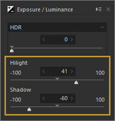 Highlight Slider in the Exposure / Luminance Panel