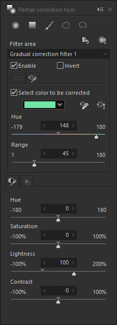 Select a color for adjustment in the Partial Correction Tool