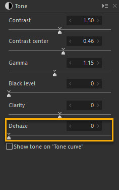 Dehaze Slider in the SILKYPIX series Tone Panel